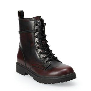 SO Burgundy Bowfin Lace-up Combat Boots